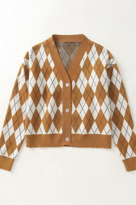 Women's new college style diamond check knit cardigan