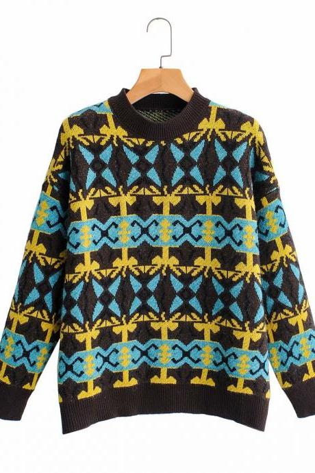 Retro loose-fitting haraju-pop patterned pullovers with long sleeves