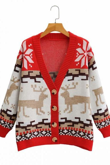 Retro Sen loose single - breasted abstract deer knitwear cardigan