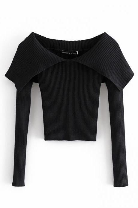 Large lapel one-collar women's tight knit top for autumn