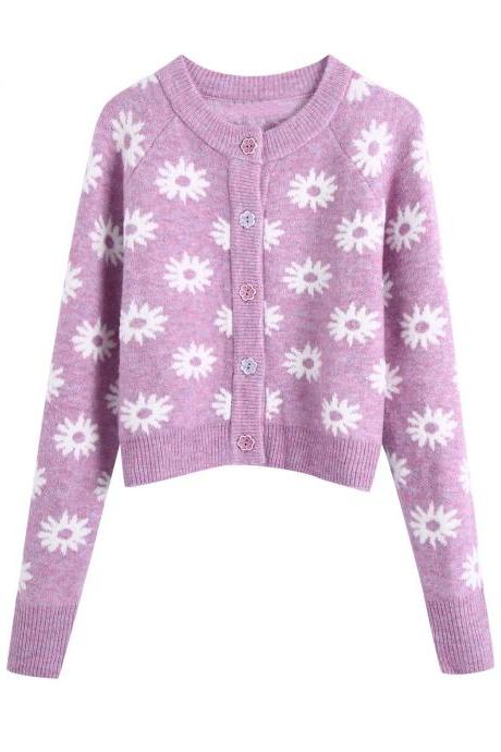 Autumn flower-shaped decorative women's cardigan