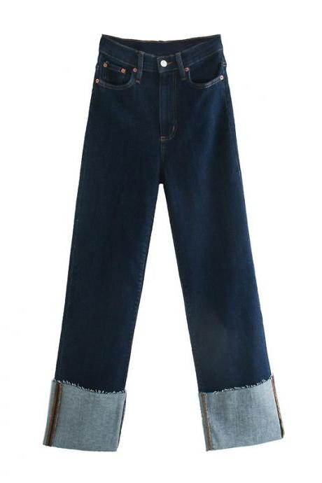 Autumn high waist women's jeans straight - cut pants