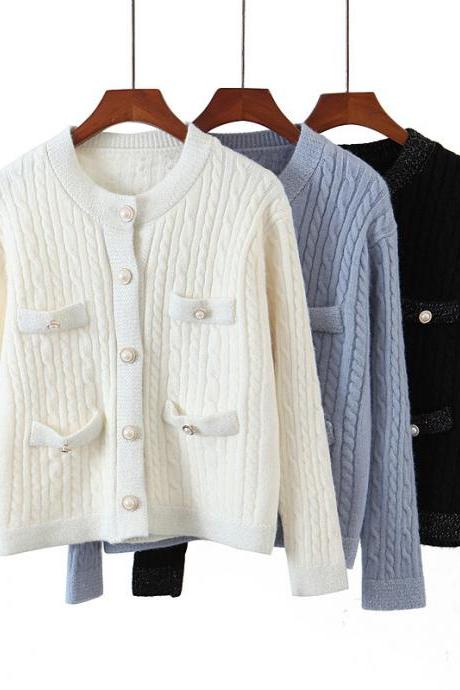 Pearl button cardigan sweater for women's dress with small fragrance and twist design