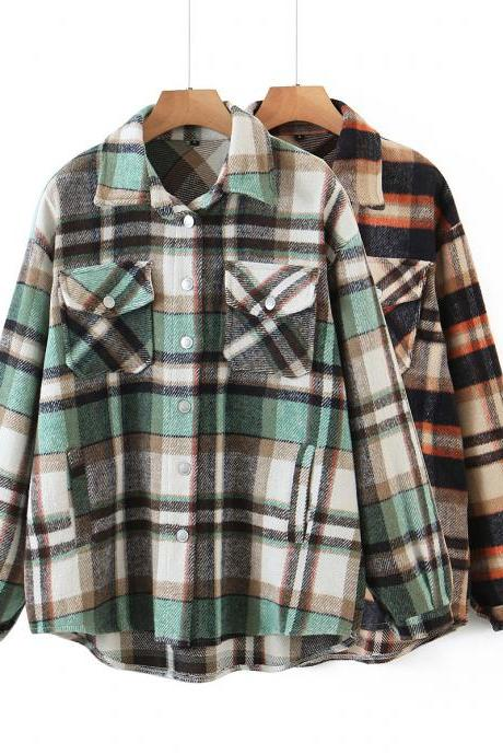 Autumn vintage loose-fitting plaid long sleeve shirt woman