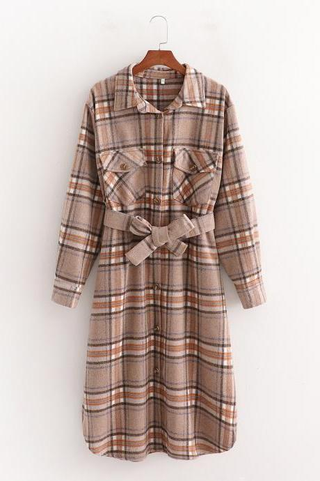 Autumn large silhouette waist coat wool plaid long coat