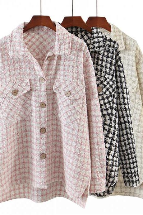 The new women's dress 2020 in sand color plaid shirt-style jacket with loose fragrance