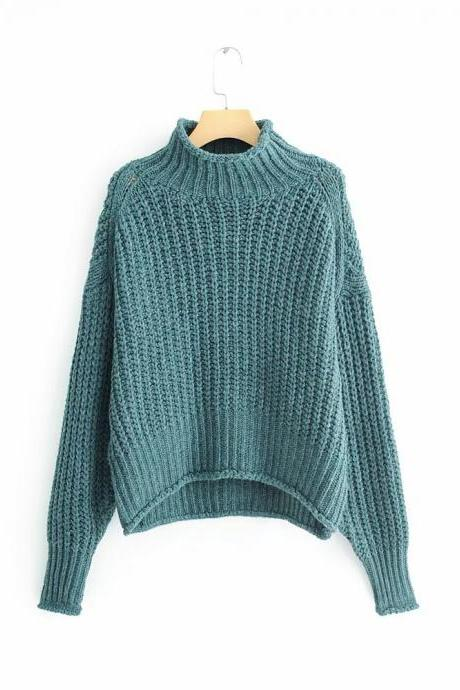 Loose knit turtleneck for women