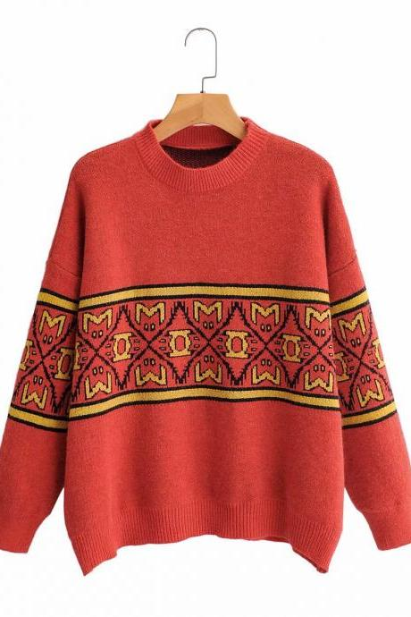 Women's pullover knitwear vintage art jacquard loose sweater