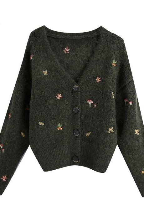 Autumn women's embroidered cardigan jacket