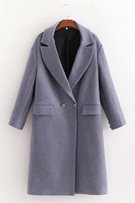New women's casual double-breasted texture in the long coat