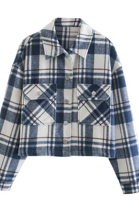 Fall plaid short blouse and jacket