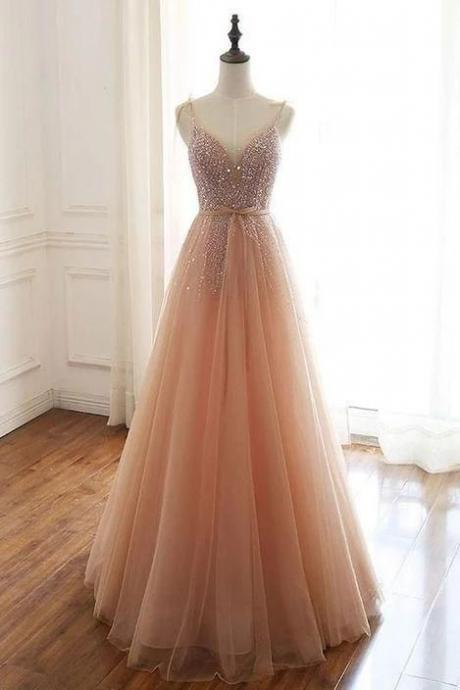 Champagne party dress tulle beads sequin long prom dress,spaghetti straps evening dress,Custom made