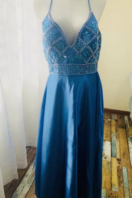 Spaghetti straps evening dress,blue party dress,sexy prom dress,manual nail bead,Queenie Prom Unique,Custom made