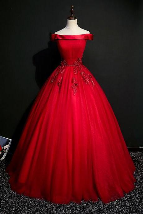 Off shoulder prom dress,red evening dress,tulle ball gown,Custom Made