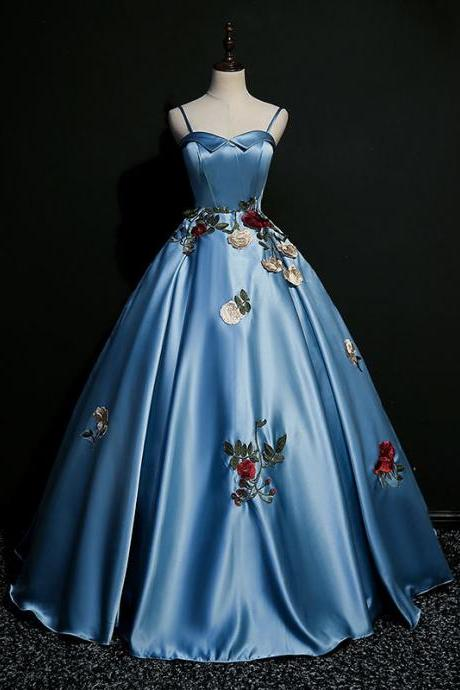 New style, sexy, suspenders, color gauze bouffant dress, embroidered evening dress,Custom made
