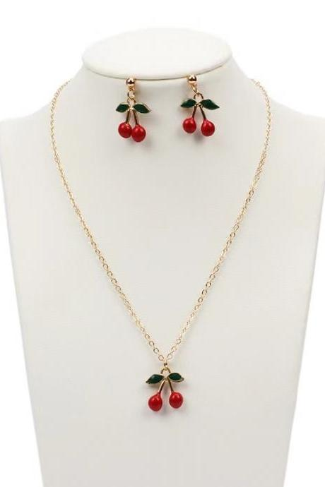 Popular accessories, earring/necklace set, creative style, red cherry necklace combination three set