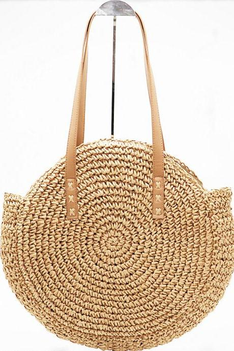 Round straw woven bags, one-shouldered women's bags, beach bags, wholesale
