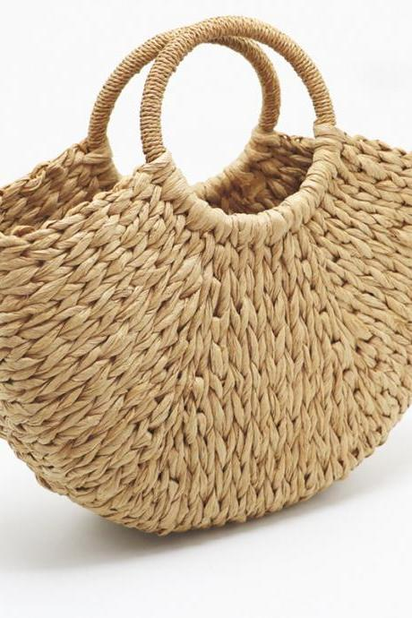 Round straw woven bags, new handbags, beach bags, wholesale