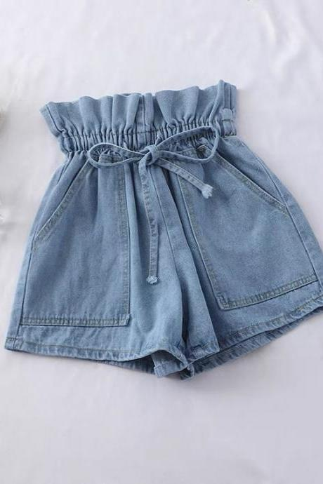Bud tie, high waist jean shorts, spring/summer, new style hot short pants, loose student wide leg pants