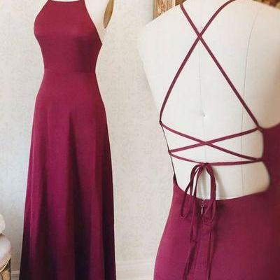 Sexy strapless neckline dress, simple backless party dress, silk slim dress
