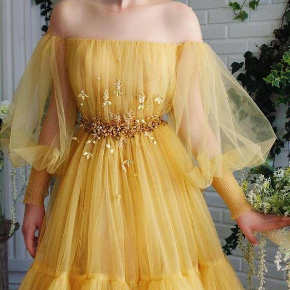 Yellow long sleeve prom dress off shoulder party dress lace tulle evening dress pretty long dress a-line long dress appliques evening dress
