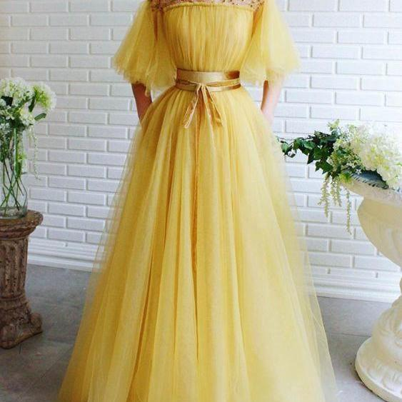 Romantic Prom Dresses a-line Ball Gown,Unique long prom dress,cute off the shoulder evening dress yellow prom dress