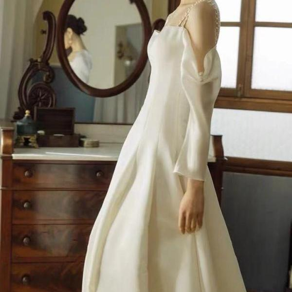 White wedding dress,long sleeve wedding dress,satin beads wedding dress ,custom made
